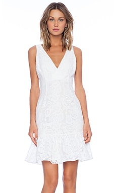 Marchesa Voyage Ruffle Hem Tank Dress in White
