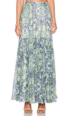 Marchesa Voyage Pleated Maxi Skirt in Kaleidoscope