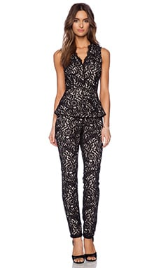 Marchesa Voyage Peplum Jumpsuit in Black & Nude
