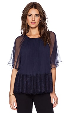 Marchesa Voyage Micro Pleated Top in Navy