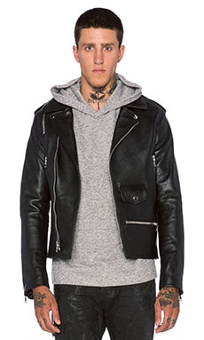 Mr. Completely Leather Moto Jacket in Black/White
