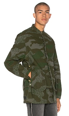 Mr. Completely Camo Banded Collar Jacket in Forest