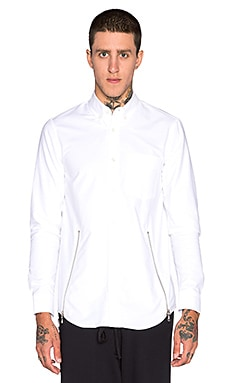 Mr. Completely Front Zip Oxford Shirt in White