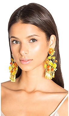 Floral Tassel Earring in Multi Yellow