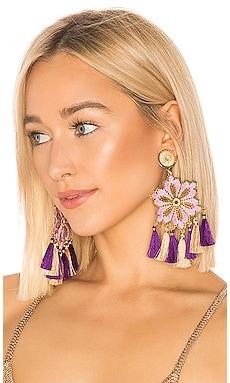 Серьги hibiscus lila - Mercedes Salazar, Фиолетовый, Серьги