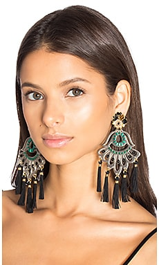 Drop Tassel Earring in Black