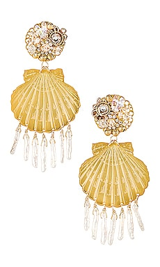 Small Shell Pearl Earrings Mercedes Salazar $81