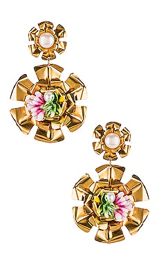Double Flower Pearl Earrings Mercedes Salazar $130