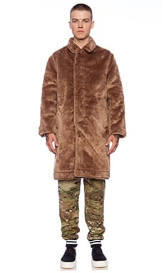 Mark McNairy New Amsterdam Faux Fur Reversible Coat in Navy/Tan