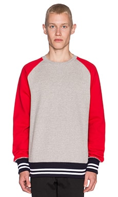 Mark McNairy New Amsterdam Freedom Sleeve Crew in Heather/Red