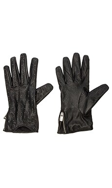 Maison Scotch Leather Gloves in Black