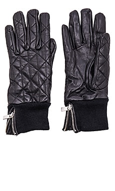 Maison Scotch Leather Quilted Gloves in Black