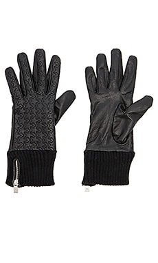 Leather Rib Cuff Gloves in Black