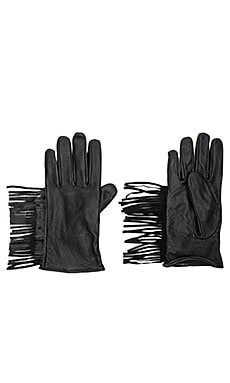 Leather Fringe Gloves in Black