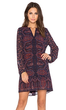 Maison Scotch Peplum Long Sleeve Dress in Multi