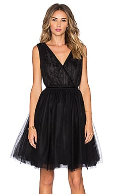 Tulle Cross Front Mini Dress in Black