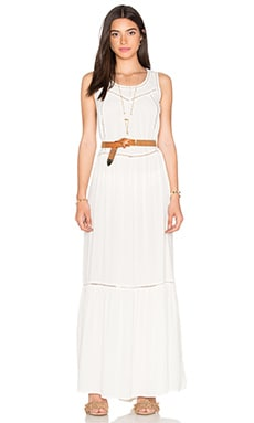 Mesh Detail Maxi Dress in Off White