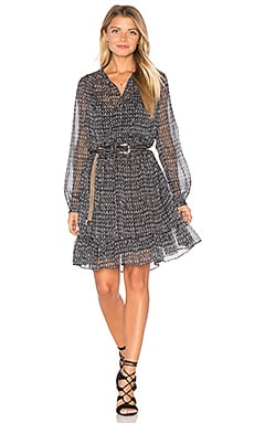 Sheer Long Sleeve Midi Dress in Black Multi