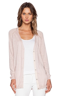 Maison Scotch Woven Back Panel Cardigan in Light Pink