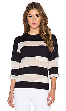 Maison Scotch Striped Sweater in Navy & White