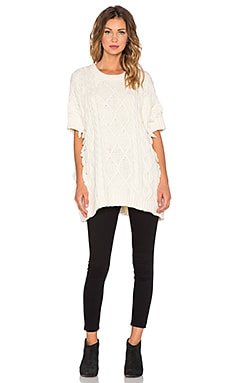 Maison Scotch Short Sleeve Fringe Sweater in Cream
