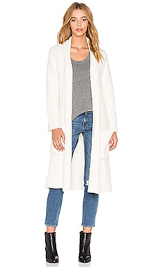 Maison Scotch Boucle Knit Long Cardigan in Cream
