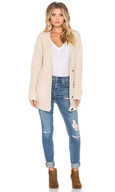 Maison Scotch Chunky Loose Knit Cardigan in Beige