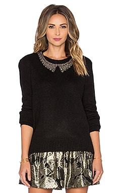 Maison Scotch Embellished Collar Crew Neck Sweater in Black