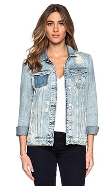 Maison Scotch Elongated Trucker Jacket in Denim