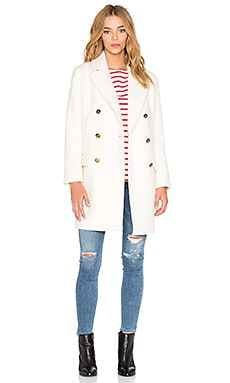 Maison Scotch Classic Wool Coat in White