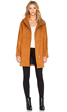 Maison Scotch Zip Up Wool Coat in Burnt Orange