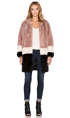 Maison Scotch Colorblock Faux Fur Jacket in Pink, Black & White
