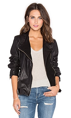 Maison Scotch Signature Moto Leather Jacket in Black
