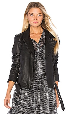 Maison Scotch Leather Biker Jacket in Black