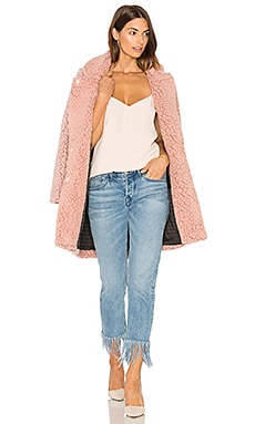 Teddy Bear Cocoon Faux Fur Coat in Blossom Melange