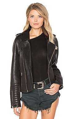Biker Leather Jacket en Negro