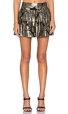 Maison Scotch Tie Front Mini Skirt in Black & Gold