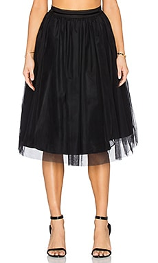 Maison Scotch Tulle Midi Skirt in Black