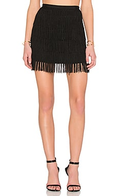 Maison Scotch Fringe Skirt in Black