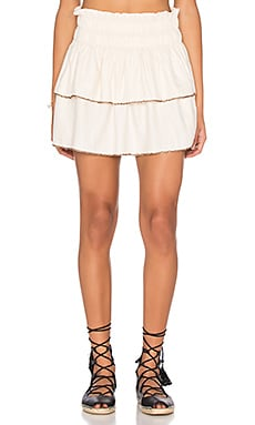 Beaded Smocked Skirt in Off White