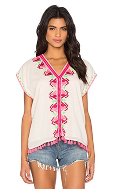 Embroidered Boho Gypsy Top in Off White