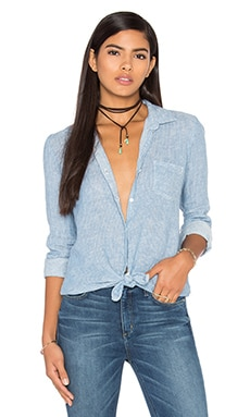 Striped Linen Beach Button Up in Chambray