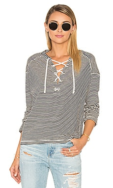 Maison Scotch Home Alone Striped Tee in Navy Stripe