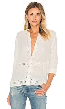 Maison Scotch Embroidered Button Up in White