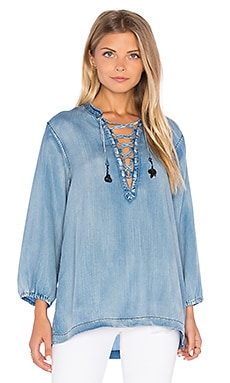 Maison Scotch Drapy Lace Up Top in Chambray
