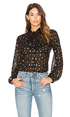 Sheer Star Tie Neck Blouse