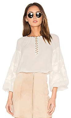 Embroidered Tunic Top in Off White