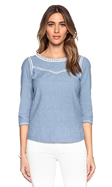 Maison Scotch Embroidered Chambray Top in Blue