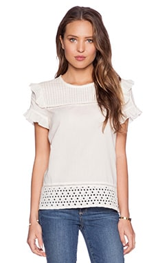 Maison Scotch Ruffles & Lace Top in Ivory