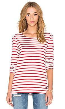 Maison Scotch French Stripe Top in Red & White Stripe